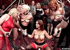Promised slaves suffers lezdom at orgy