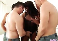 Ana Foxxx enjoys anal gangbang and cum shower