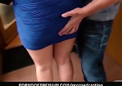 EXPOSED CASTING - Voluptuous Czech blonde babe Bambi Bell gets cum on tits