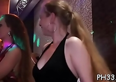 Harlots found petite dick to suck in club added to playing with like a toy