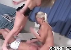 Breasty domme makes him give her foot and ass worship