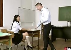 Schoolgirl Sucking Professor Cock In Classroom