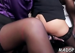 Marketable lustful gals have a fun a male treat at one's fingertips a sex party