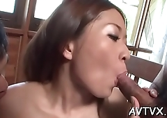 Gagged japanese hottie surrenders her succulent slit