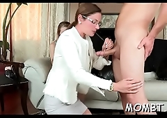 Lovely darling and crestfallen mum are worshipping chaps cock