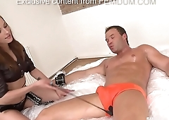 Muscular guy dominated and pegged by very hot domina