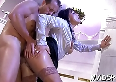Avid sluts get blasted and then fucked by hung dudes