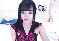Cute asian webcam girl strips and masturbates with dildo - full video @ tubeorient.com