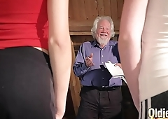 Kiara coupled with Mia both fuck an old man coupled with share his cum after a hot fuck