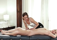 Jillian Janson makes Jill Kassidy wet on massage ship aboard