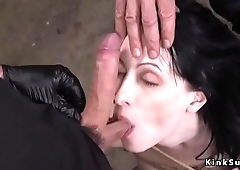 Pale slave anal fucked in bondage