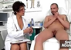Hospital handjob with uniform lady Marta