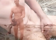 Davey Jones masturbating outdoor