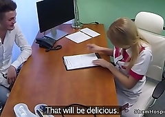 Natural blonde nurse sucking dick