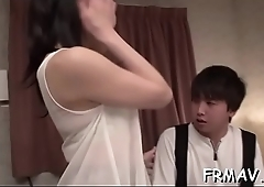 Alluring japanese stimulates her bawdy cleft with a sextoy