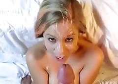hot girl is sprayed under
