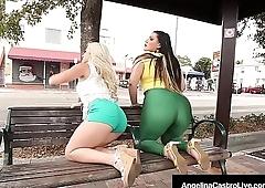 Latina BBW Angelina Castro Strap On Fucks Asian Cristi Ann!