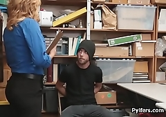 MILF security guard catches and fucks thief