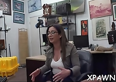 Juvenile woman shows us how this babe has some sex in shop room