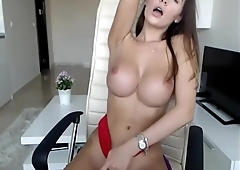 Perfect Babe Fucks her Pussy with Perfect Tits on Cam HomeOfCams.com