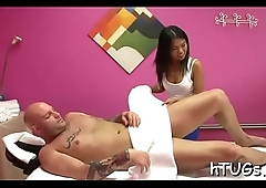 Cute babe gives a actually good treatment to his huge dick