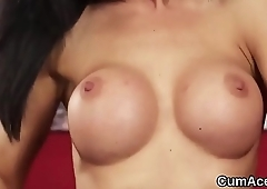Frisky hottie gets sperm load on her face eating all the load
