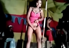 Erotic dancers during village jaatra. One girl shamelessly displaying her hairy