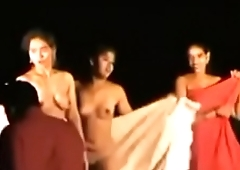 Indian Women Dancing Completely Naked Live in front of Village Crowd