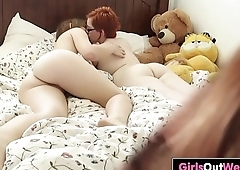 Cute Aussie lesbians lick assholes on the bed