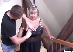 Horny old cunt is so happy to be fucked wits a big young cock