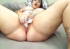 Beautiful chubby slutty toyed her ass