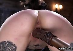 Alt slave in device bondage paddled