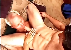 Horny cop gets his tight ass and shaft licked by young stud