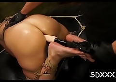 Latina sits on a toy while being disgracefully screwed in throat