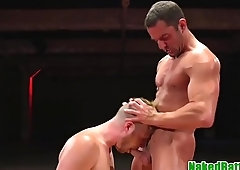 Tattooed wrestling stud gets cocksucked