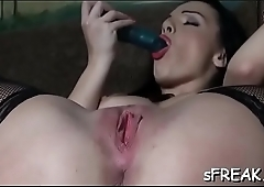 Naughty pornstar works her unfathomable soaked inviting vagina