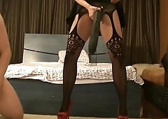 Brunette Antonella mistress strapon fucking