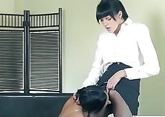 LesbianCUMS.com ⇨ Lady in Office Lesbian Riding Strappon Dildo