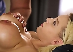 Hot big tit fair-haired Kenzie Taylor ride hard masseur fat dick