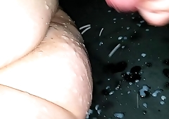 Cumshot on sleeping wifes ass, my private video.