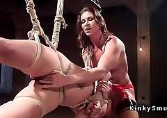 Lesbian slave rough anal fucked with strap on